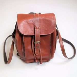Patricia Nash Whiskey Brown Leather Mini Backpack